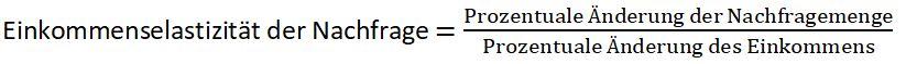 Formel Einkommenselastizität