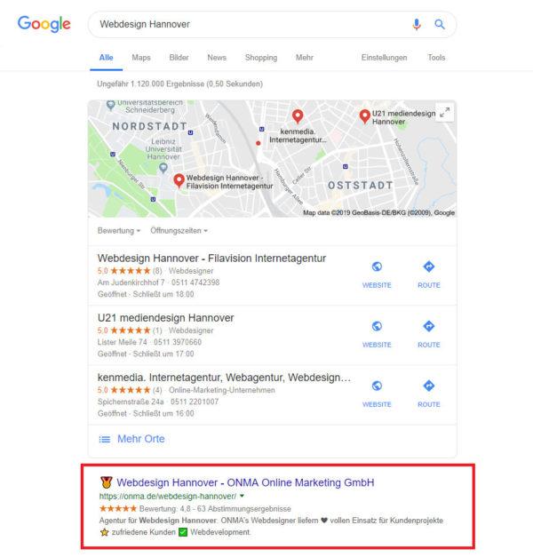 """Abbildung 1: Unter """"Webdesign Hannover"""" finden Sie uns direkt auf Googles erstem Platz."""