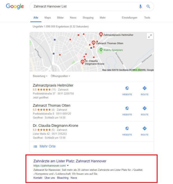Abbildung 6: Googles erster Platz für unseren Zahnarztkunden.
