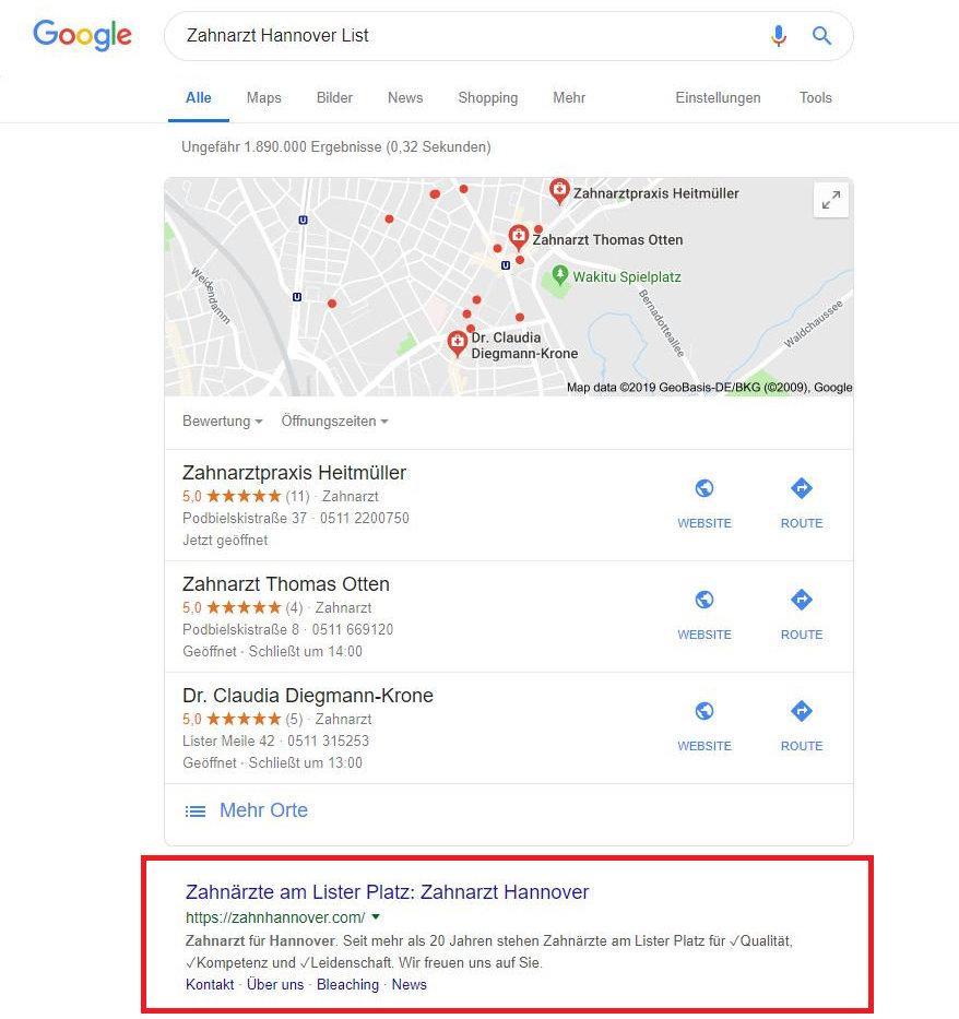 Googles erster Platz für unseren Zahnarztkunden.