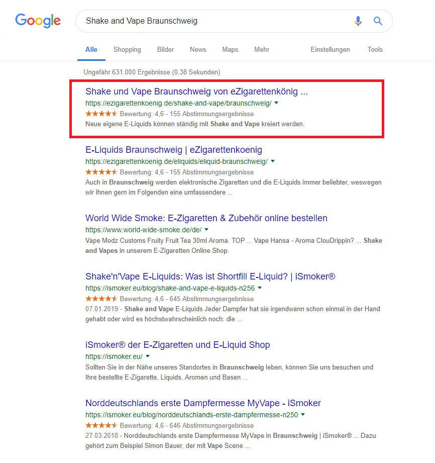 Der Online Shop unseres Kunden auf Platz 1 bei Google.