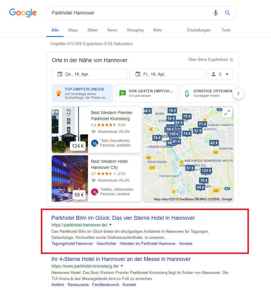 Auf dem ersten Platz bei Google - Das Hotel unseres Kunden.
