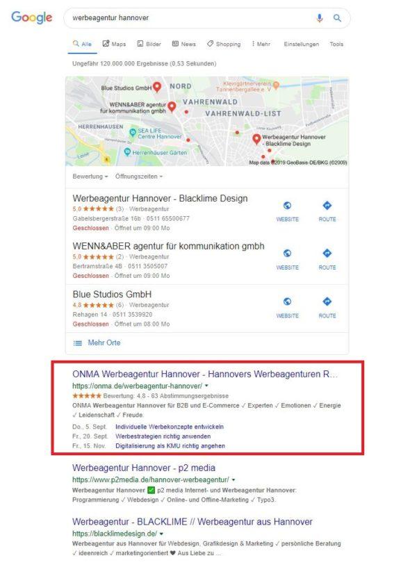 """Abbildung 1: Unter """"Werbeagentur Hannover"""" finden Sie uns direkt auf Googles erstem Platz."""