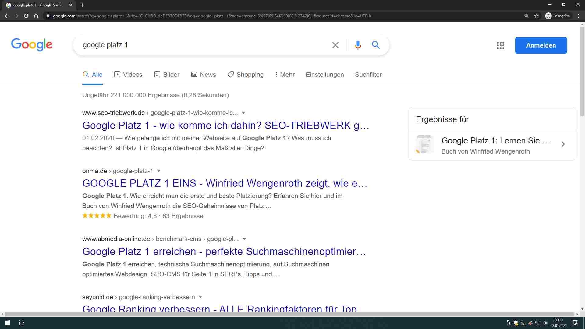 aktuelle google serp 2021