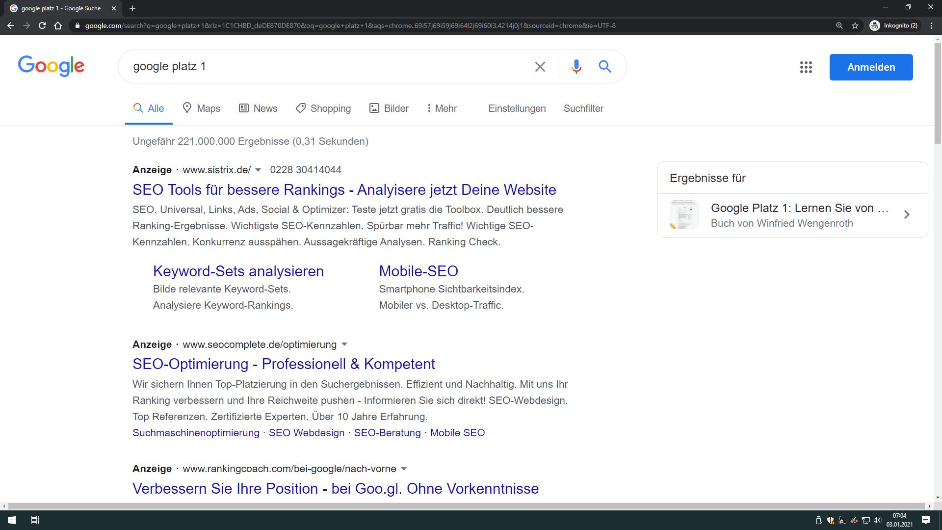buchveroeffentlichung google platz 1 - desktop