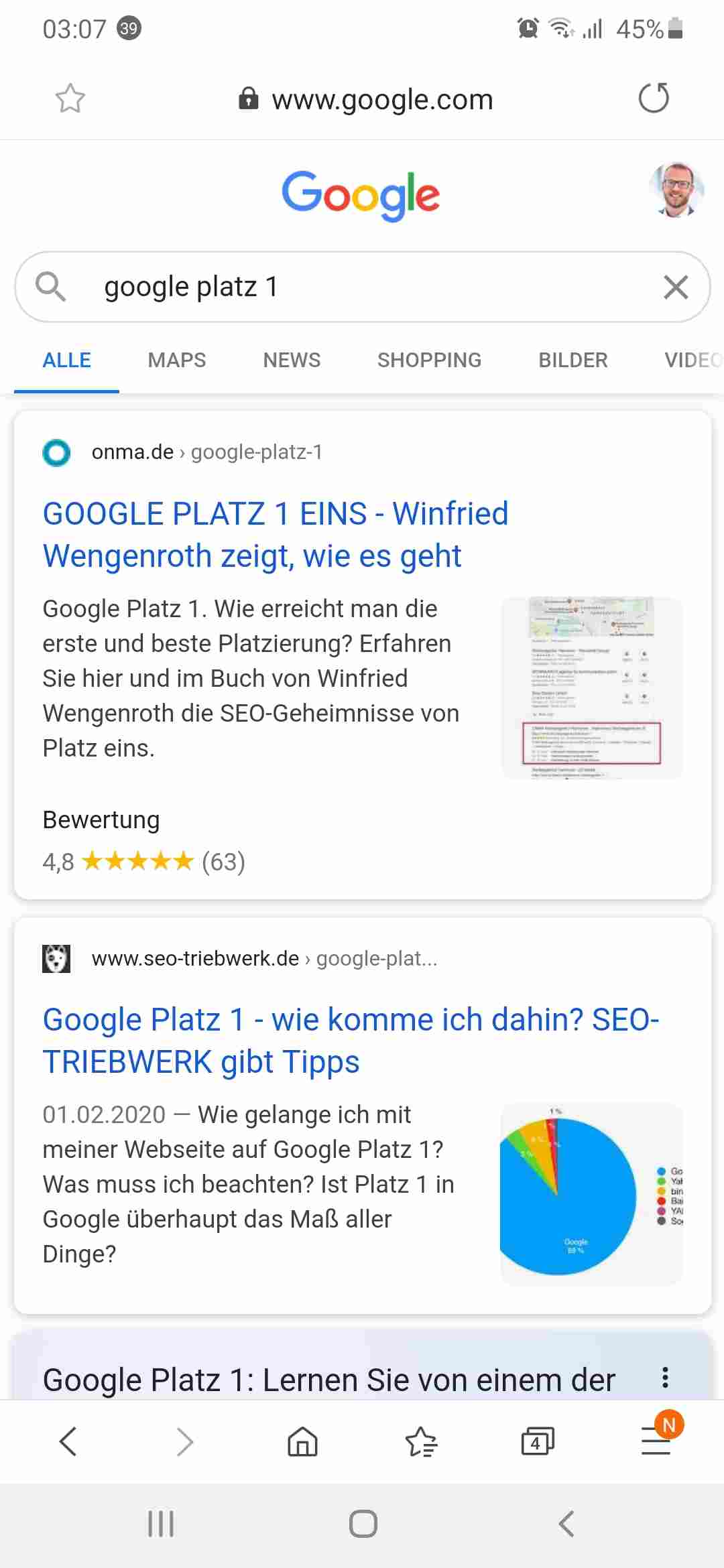 Internet Google Platz eins wenn Winfried wengenroth als google user angemeldet ist mobil Screenshot