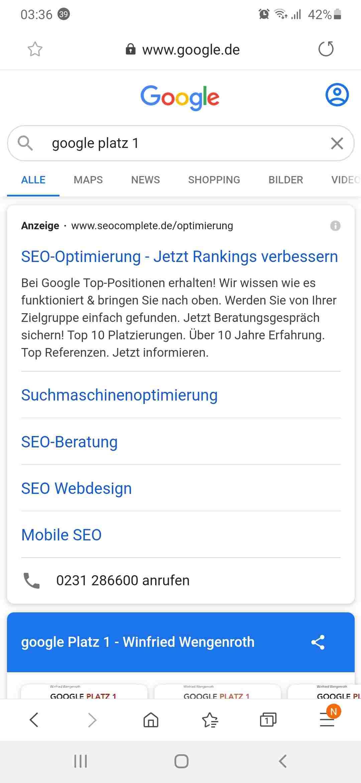 Internet Mobiles Ergebnis zur Google Suche Google Platz 1 mit Google AdWords Kampagnen