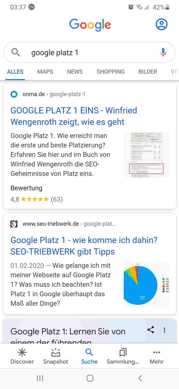 Google Platz 1 suche auf dem mobilen Smartphone mit der Google App