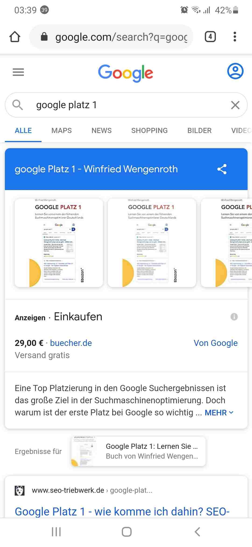 Chrome Google Platz 1 suche mit der Google Chrome App