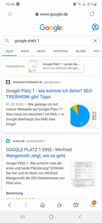 Internet Android Browser Google Suche nach Google Platz 1