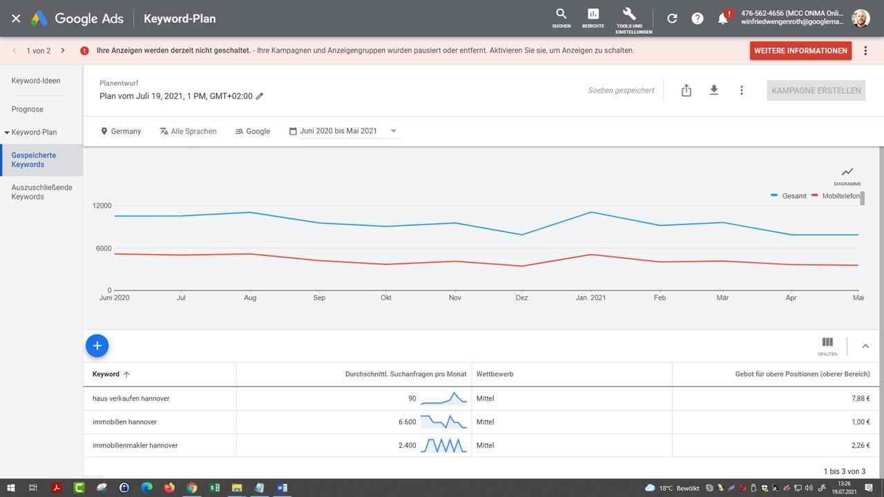 Google AdWords Keywordplanner wie oft wird nach Immobilienmakler Hannover im Monat gegoggelt