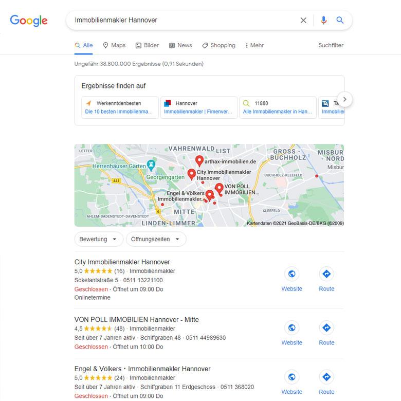 Lokale Suchmaschinenoptimierung für Google My Business am Beispiel City Immobilienmakler Hannover