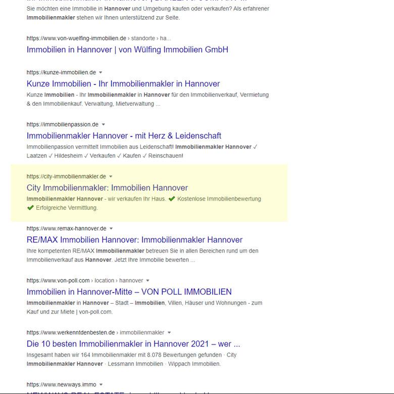 Organische Suchmaschinenoptimierung für Google My Business am Beispiel www.city-Immobilienmakler.de