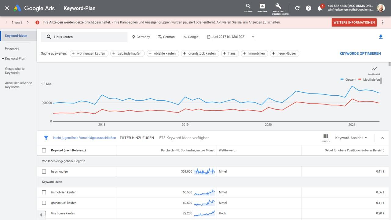 Statistik Haus kaufen Google suche
