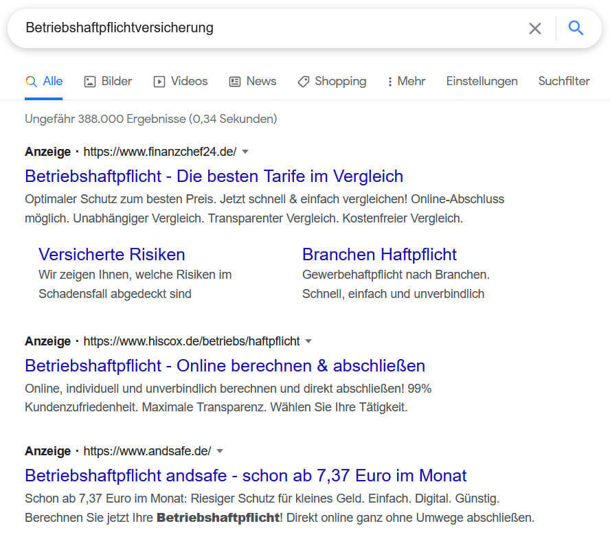 Anzeigen von Google Ads